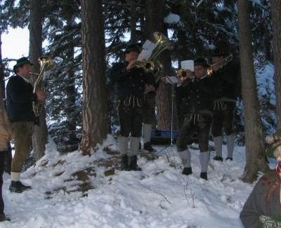Bläsergruppe bei der Bergweihnacht auf der Kastensteinerwand