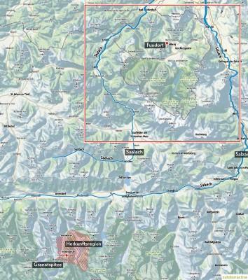Herkunfts- und Fundort des Gneis-Findlings am Mitterbergsteig in Bischofswiesen